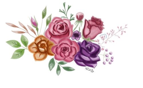 Disegno rose e fiori pastello - Copia